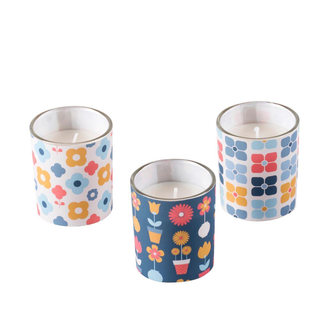 Set de 3 bougies Jackie (Coloris au choix)  - H 6 cm, Ø 5 cm
