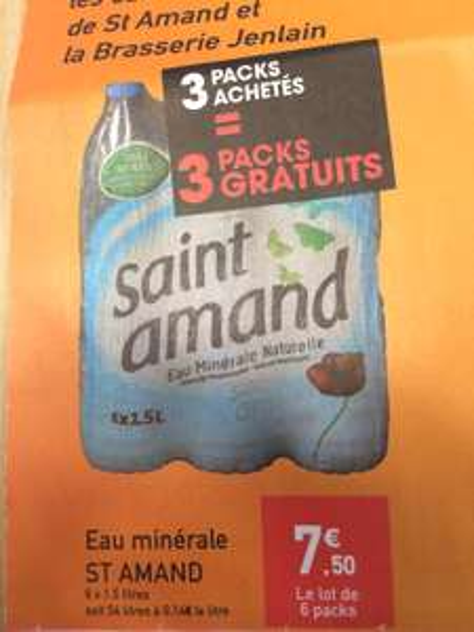 Sélection d'offres en promo - Ex : Carburant à prix coutant , 6 packs d'eau St Amand pour 3 achetés.