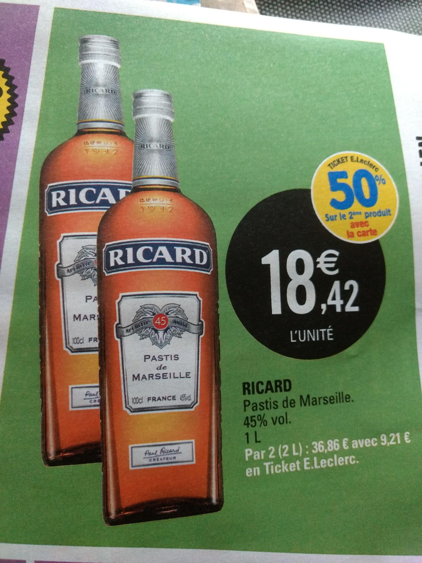 Lot de 2 bouteilles d'apéritif Ricard (via 9.21€ sur la carte de fidélité) - Magasins participants
