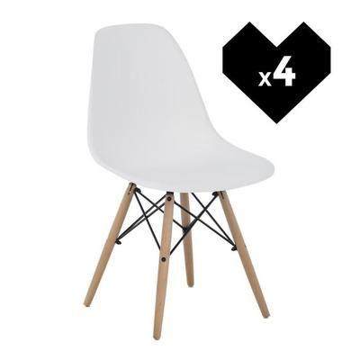 Lot de 4 Chaises design scandinave - Noir ou blanc (vendeur tiers)