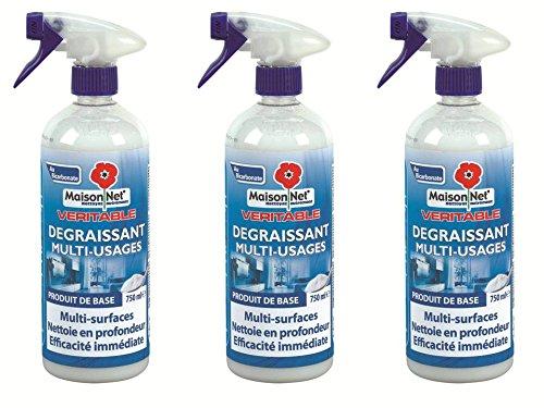 [Panier Plus] Lot de 3 Dégraissants au Bicarbonate Multi Usage Maison Net  - 3x750 ml