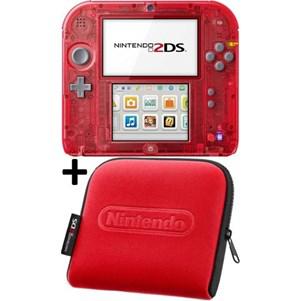 Console Nintendo 2DS Rouge Transparente + Housse Officiel Nintendo Rouge + Boitier de Rangement pour Jeux et Accesoires
