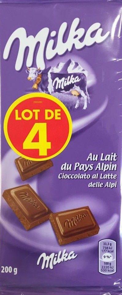Lot de 4 tablettes de chocolat au lait du pays alpin Milka (Via 4.08€ sur la Carte Fidélité)