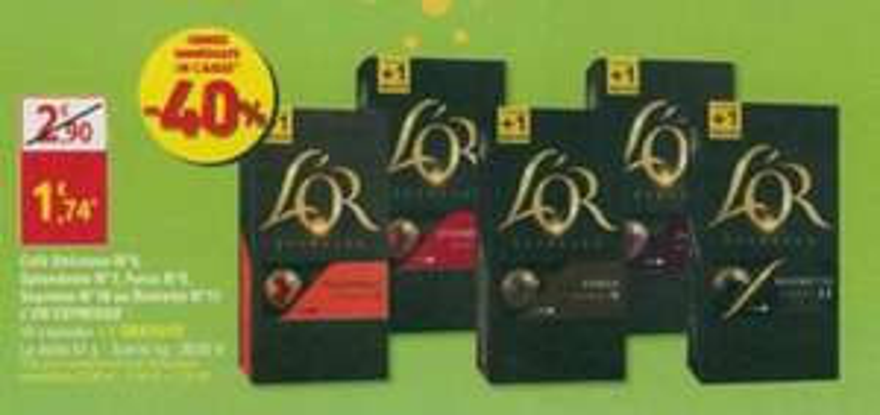 Boîte de 11 capsules de café L'Or Espresso (différentes intensités) - Diagonal / G20