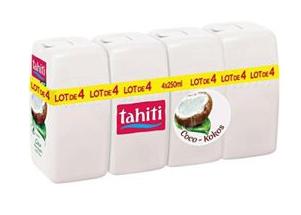 Lot de 4 Gels Douche Tahiti Coco - 4 x 250mL (Plusieurs variétés)