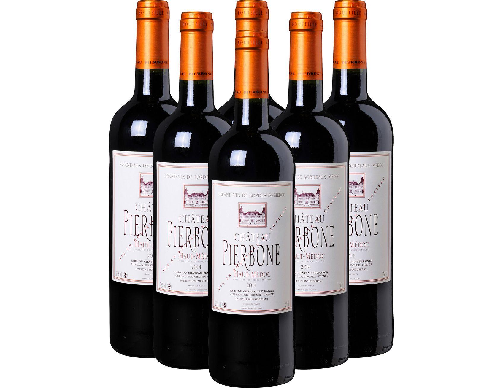 6 bouteilles de vin rouge Haut-Médoc AOC Château Pierbone 2014 - 6 x 75cl