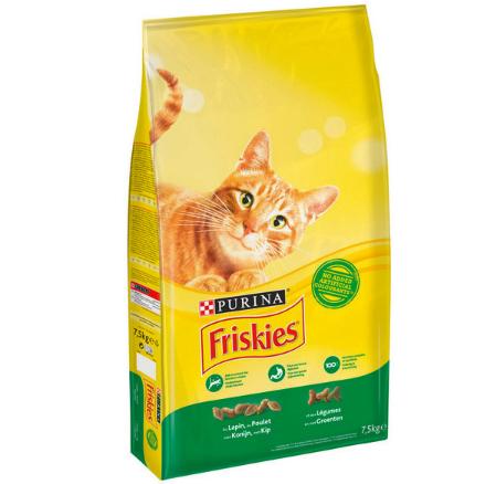 Lot de 2 Sacs de Croquettes pour chat Friskies, au lapin et au bœuf - 7,5 Kg