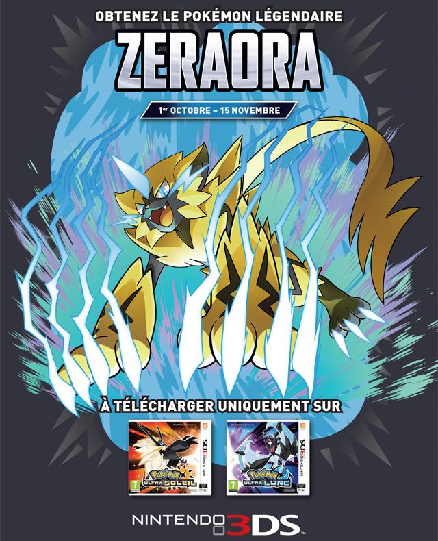 Pokémon Zeraora Gratuit pour Pokemon Ultra Lune ou Soleil sur Nintendo 3DS