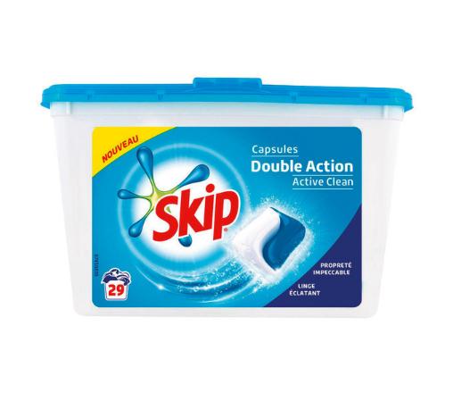 Boite de 29 capsules de Lessive Skip Double Action (via 7.21€ fidélité + 1.9€ BDR)