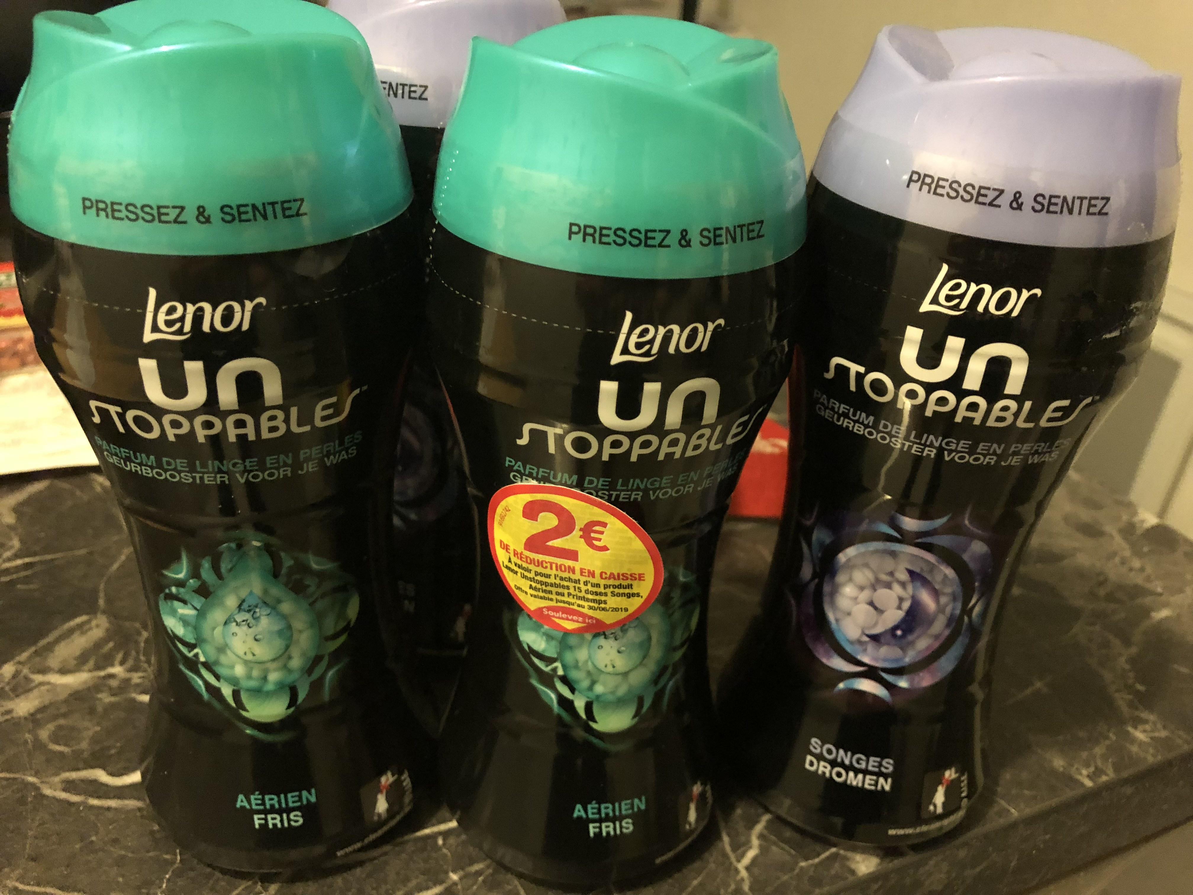 [Carte bancaire ou fidélité Casino] Lot de 4 Parfums de Linge Lenor Unstoppables - Adoucissant (via BDR) Narbonne (11)