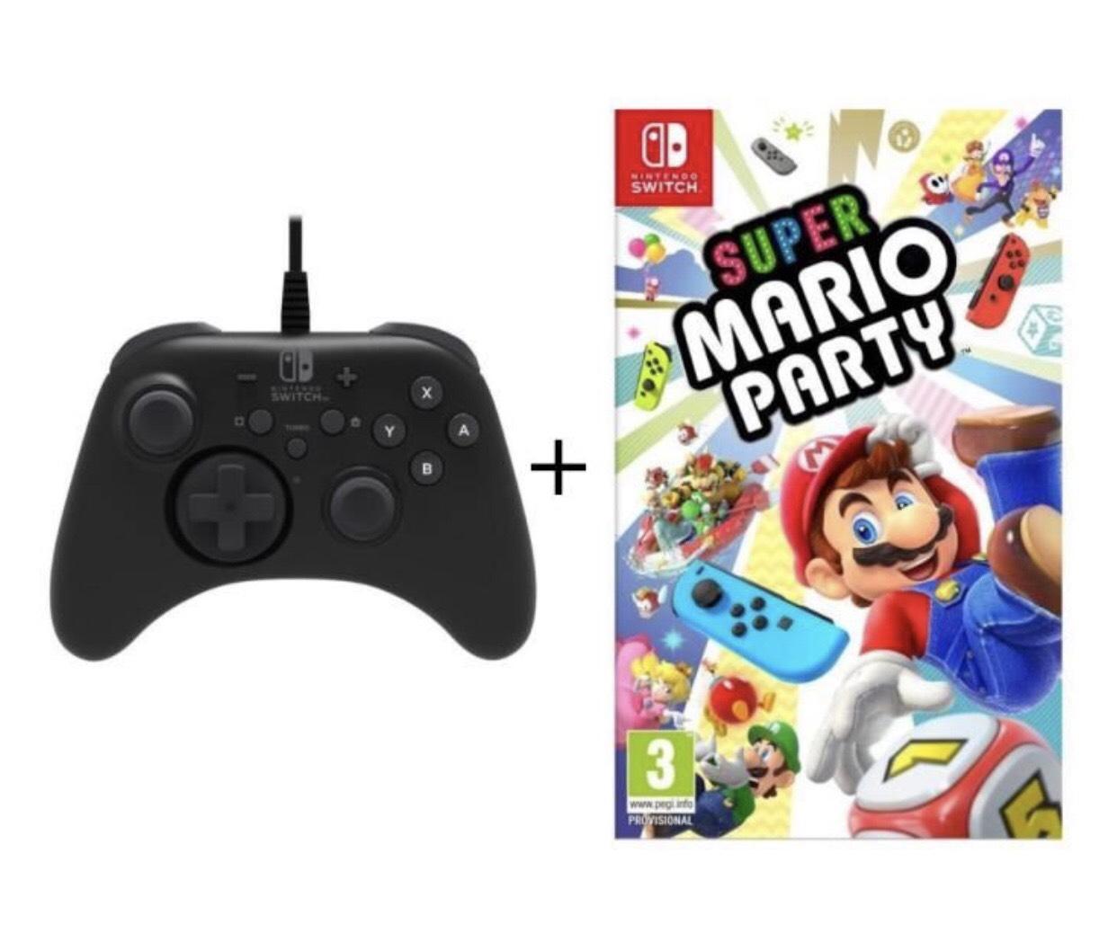 Jeu Super Mario Party + Manette Hori Pro pour Nintendo Switch