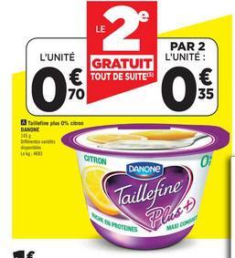 2 Yaourt Taillefine Plus gratuits  (Via 0.75€ de réduction)