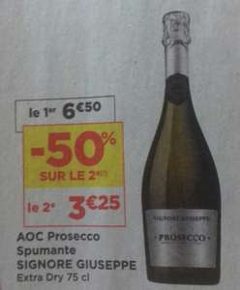 Lot de 2 Bouteilles de Prosecco Signore Giuseppe Extra Dry - 2 x 75cl