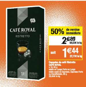 Lot de 2 packs de 10 capsules de Café Royal compatible Nespresso gratuits (au lieu de 5.78€)