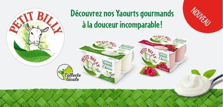 Pack de 4 yaourts Petit Billy Le Doux Brassé au Lait de Chèvre gratuit - framboise, nature ou vanille (100% remboursé via Quoty)