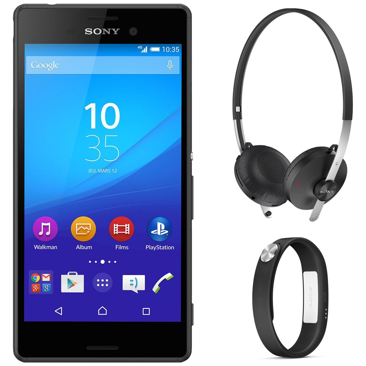 """Smartphone 5"""" Sony Xperia M4 Aqua Dual 16 Go 4G + Bracelet Connecté Sony SmartBand SWR10 + Casque Bluetooth Sony SBH60"""