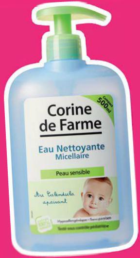 Selection de produits de puériculture. Ex: Eau nettoyante micellaire Corine de Farme 500mL + un vanity offert pour tout achat de 10e min