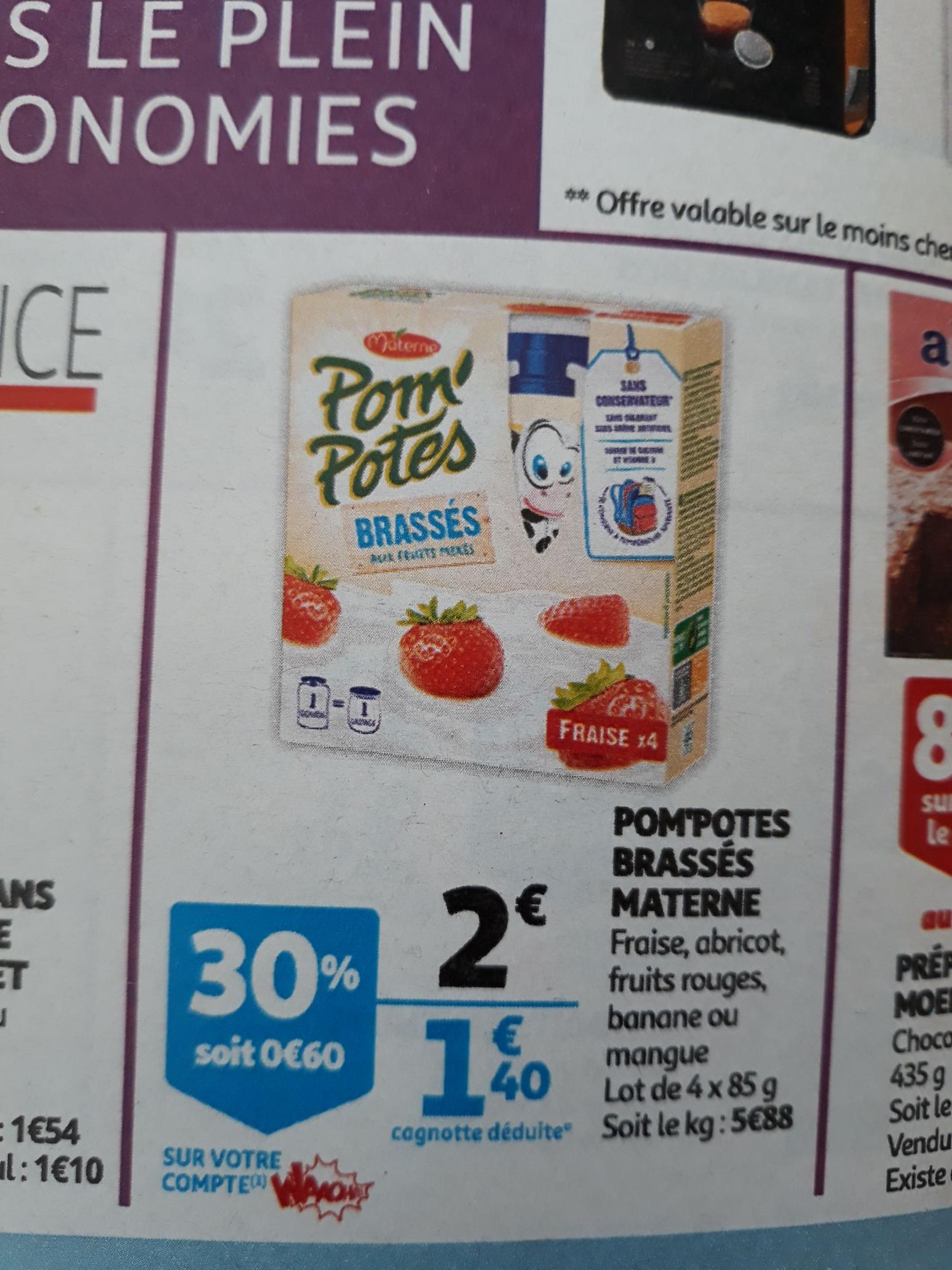 Lot de 2 boîtes de 4 compotes Materne Pom'Potes Brassés - différents parfums, 4x85 g (via 1.2€ sur la carte de fidélité + Shopmium)