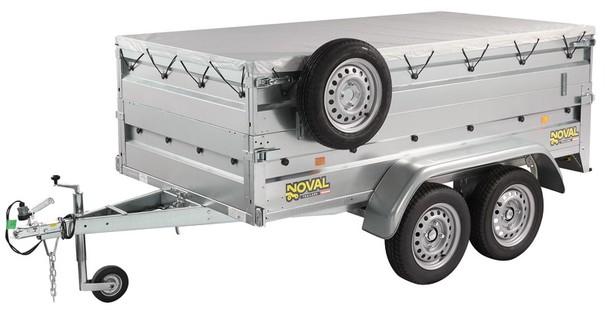 Remorque 2 essieux + réhausses ridelles + roue jockey + roue de secours + rampes + bâche