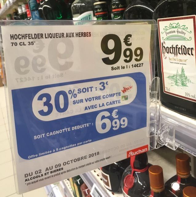 Bouteille de liqueur aux herbes Hochfelder  - 70 cl (via 3€ sur la carte de fidélité) - Vélizy-Villacoublay (78)