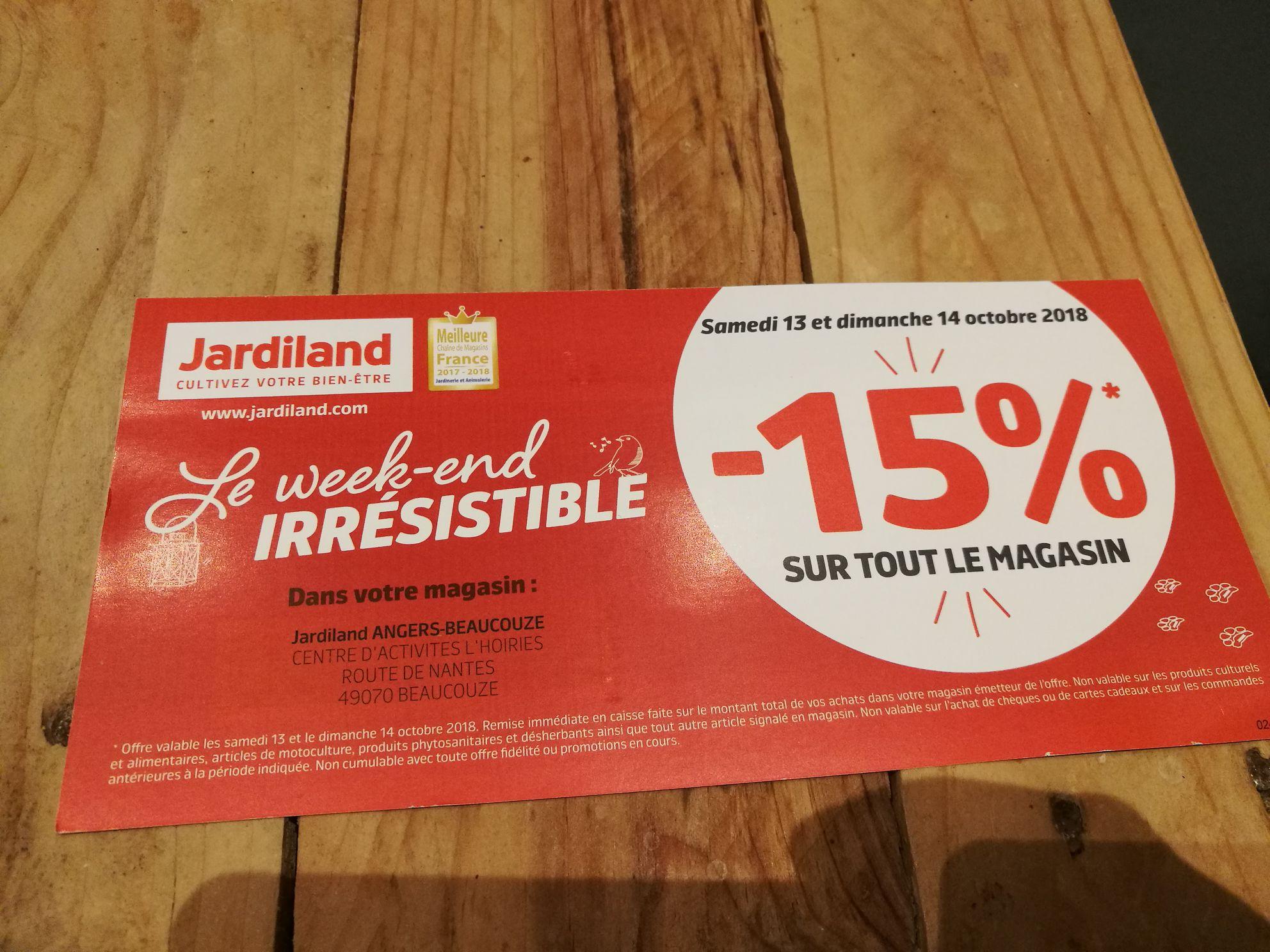15% de réduction immédiate sur tout le magasin (hors exceptions) - Beaucouzé (49)