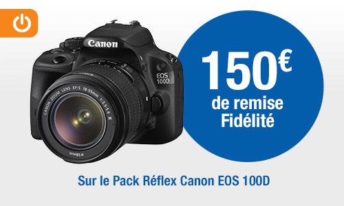 [Carte Pass] Appareil photo Réflex Canon EOS 100D + 2 objectifs 18-55 et 75-300 (via 150€ fidélité et 50€ ODR)