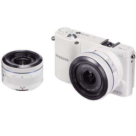 Appareil photo numérique hybride Samsung NX1000 Kit blanc 2 objectifs 20-50 & 16mm (Avec ODR de 200€)