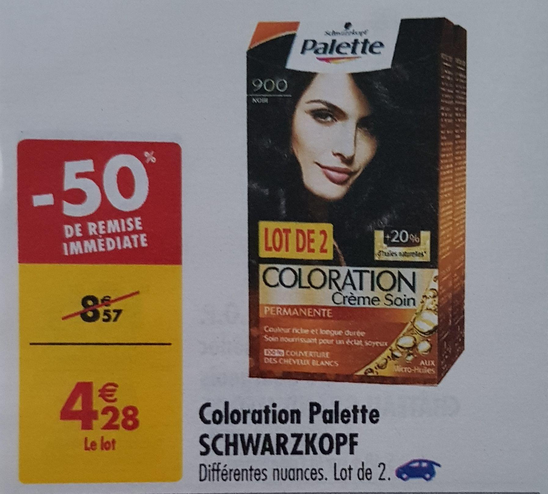 Lot de 2 colorations Palette Schwarzkopf (via BDR de 1€)