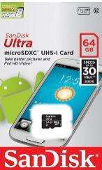 Carte micro SDXC SanDisk Ultra UHS-I Classe 10 - 30 Mo/s - 64 Go