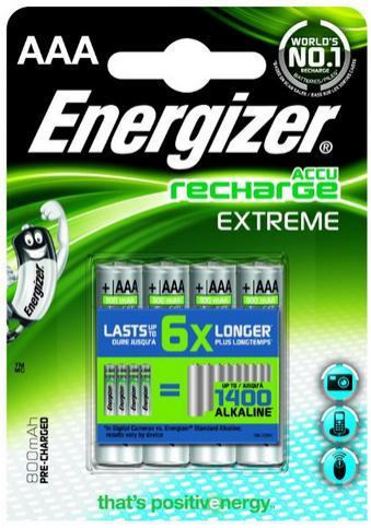 Lot de 4 Accus AAA rechargeables Energizer - 800mAh