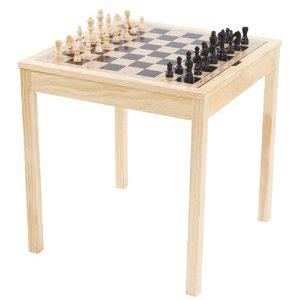 Table en bois de Jeu d'échec Géant Double Face Gueydon Jouets (63 x 63 x 67 cm)