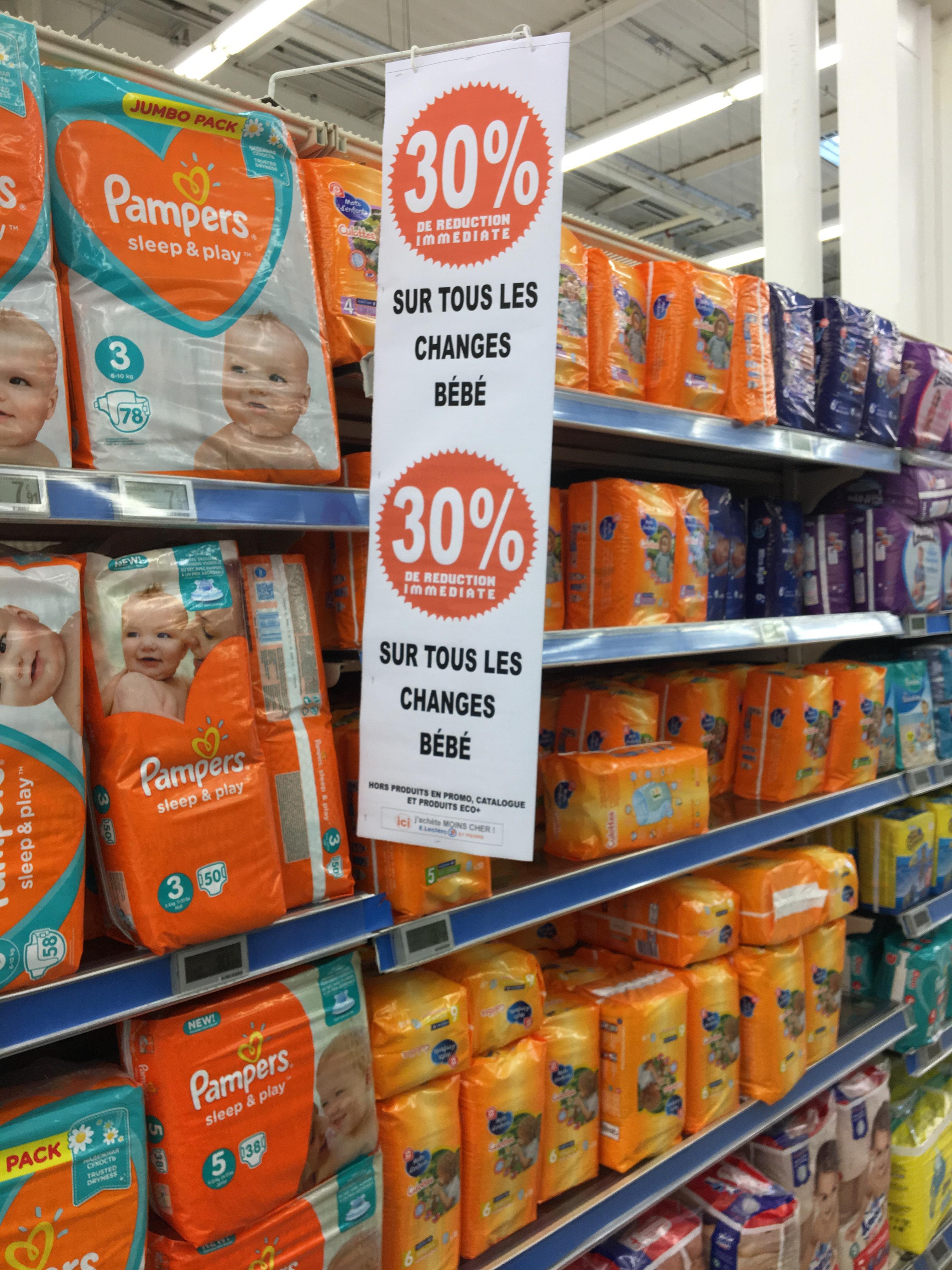 30% de réduction sur les changes pour bébé (hors promotions et produits Eco+)