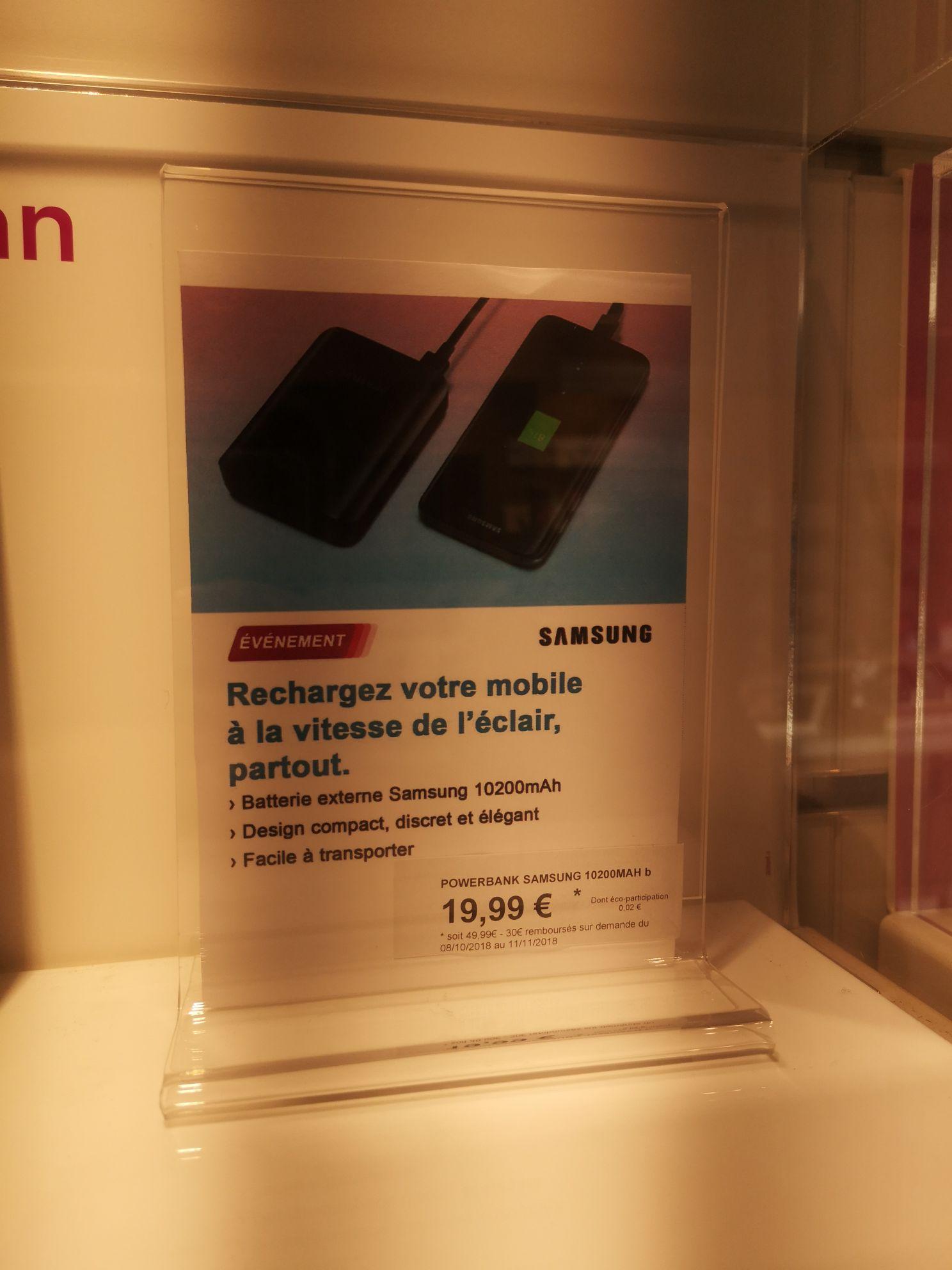 Batterie Externe Samsung Fast Charge 5100mAh (Via ODR 30€ et 20€)