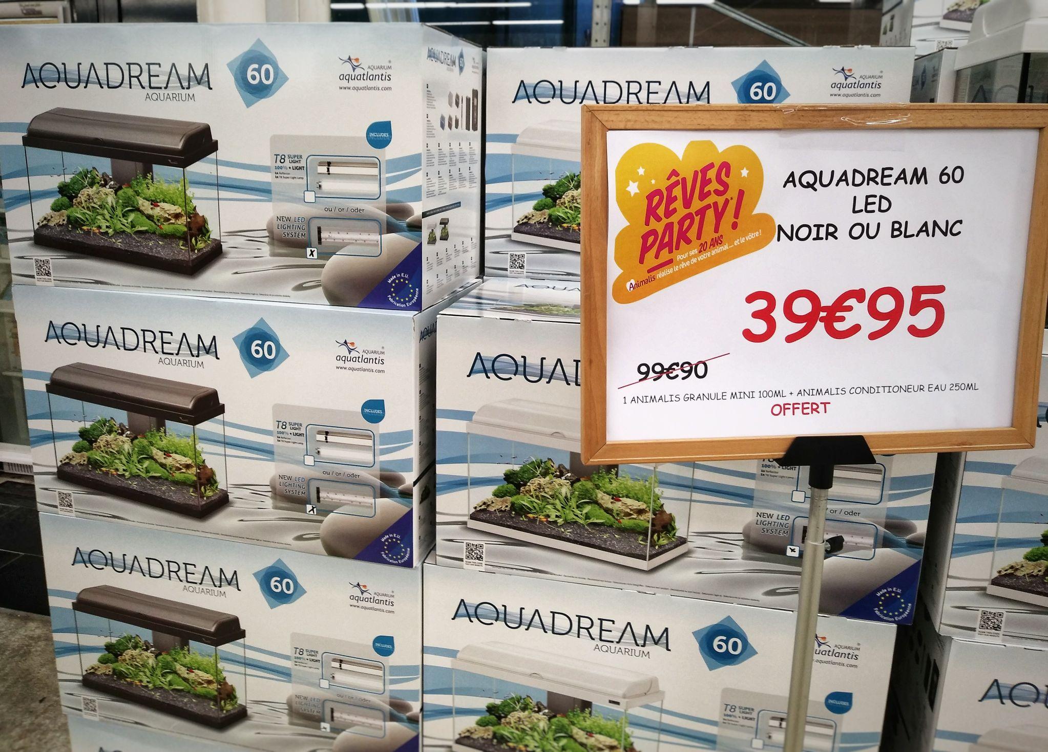 Aquarium Aquadream 60 - 52L, Noir ou Blanc à Animalis Antibes / Guipavas / Epargny / Saint-Ouen-l'Aumône (06 / 29 / 95)