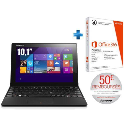 """Tablette 10.1"""" Lenovo miix 3-1030 - 32 Go - Noir + Microsoft Office 365 valable 1 an (ODR 50€)"""