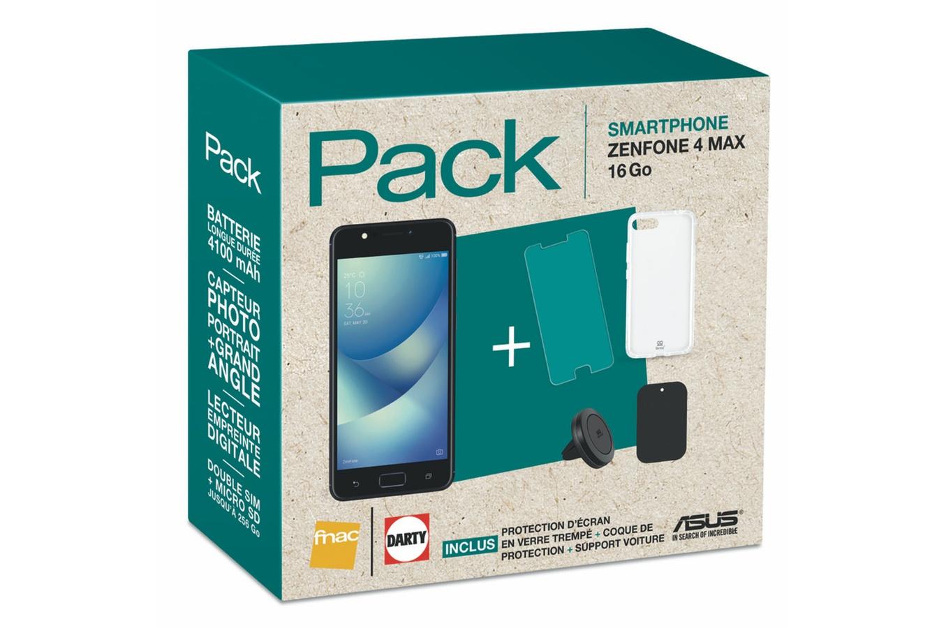 """Pack Smartphone 5"""" Asus ZenFone 4 Max (Double SIM, 16 Go, Noir) + Coque + Protection d'écran en verre trempé + Support magnétique"""