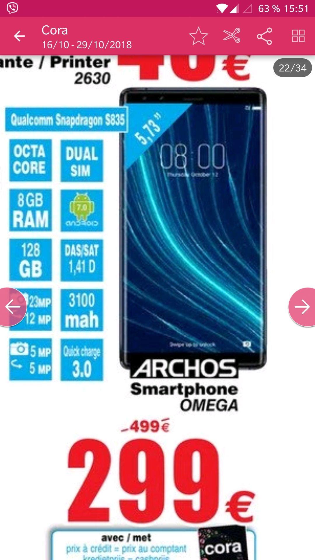 "Smartphone 5.73"" Archos Diamond Omega - Snapdragon 835, RAM 8Go, 128Go, 4G (Frontaliers Belgique)"