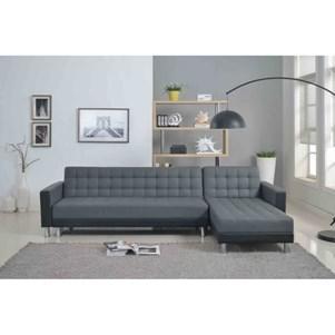 Canapé d'angle droit convertible Washington noir/gris