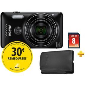 Appareil photo Nikon Coolpix S6900 Noir + Etui + SD 8Go (via ODR 30€)