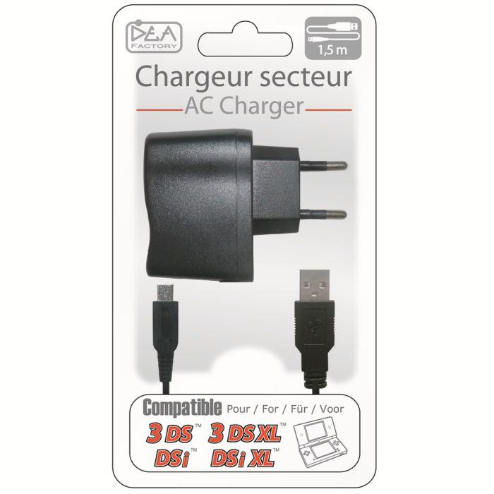 Chargeur Secteur pour console Nintendo DSi / 3DS / 3DS XL / New 3DS - 1.5m - Noir
