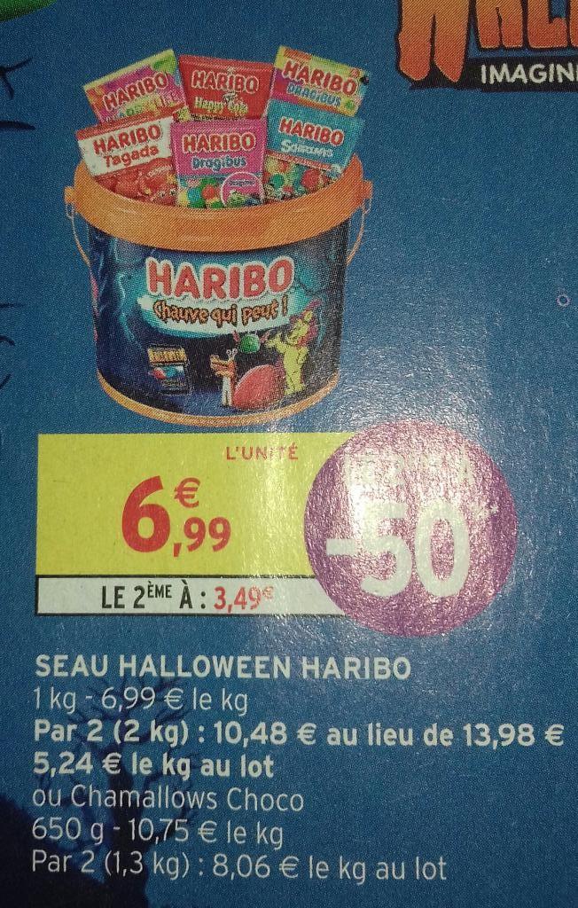 Lot de 2 seaux de confiseries Haribo - 2x1 kg, différents types