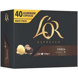 Paquet de 40 capsules de café L'Or Espresso compatible Nespresso - Forza ou Ristretto