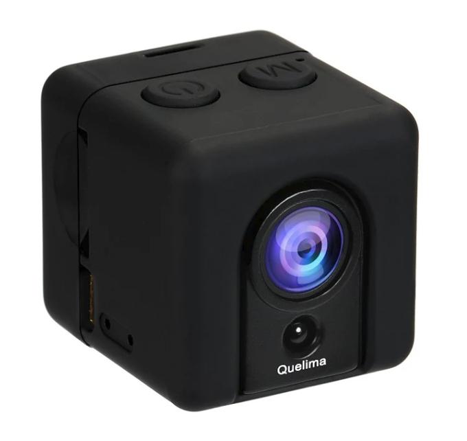 Mini caméra DVR Quelima SQ20 - 1080p / 30 fps, 155°, f/2.5, Détection de mouvement, Vision nocturne (Noir)