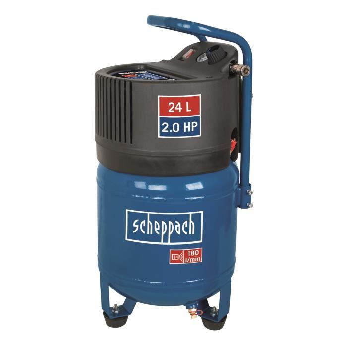 Compresseur d'air vertical Scheppach 24 L - 2CV 10 bars, sans huile HC24V - Garantie 10 ans (129€ le modèle 50l)