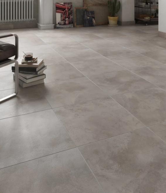 Carrelage sol gris aspect béton l.45 x L.45 cm