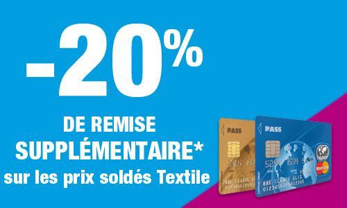 [Carte Pass] 20% de réduction sur le textile (valable sur les soldes)