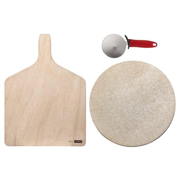 Set d'ustensiles pour Pizza Bodum: Pierre à pizza pour four + pelle + Roulette