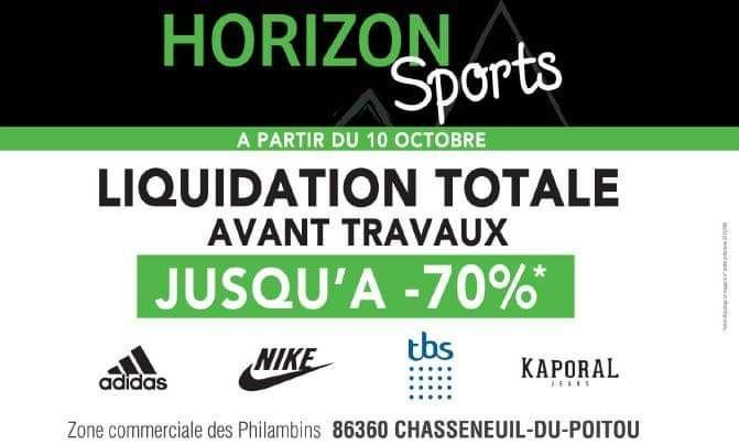 Jusqu'à 70% de réduction sur tous les articles - Horizon Sport Chasseneuil (86)