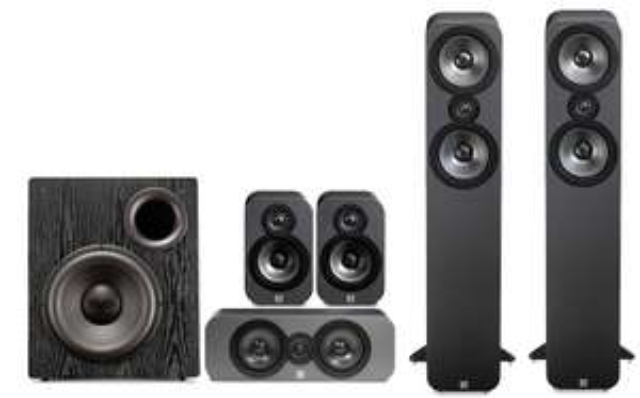 Kit Enceintes 5.1 Q-Acoustics 3050 Cinema Pack + Caisson de basse SVS PB12 NSD - Walnut ou Graphite