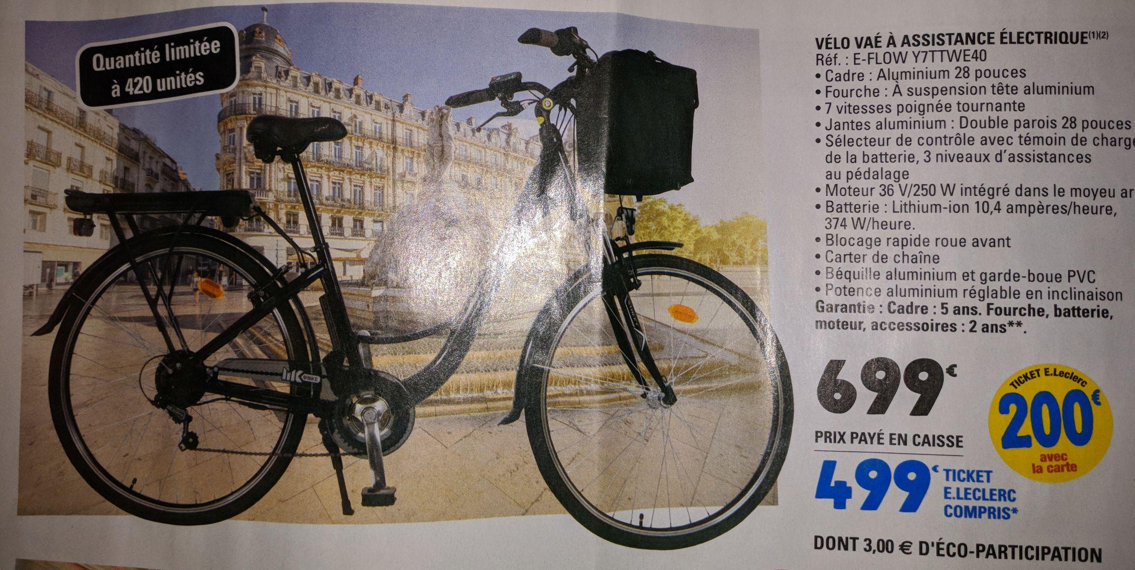 Vélo ville à assistance électrique e-flow Y7TTWE40 (via 200€ sur la carte) - Plusieurs villes (44)